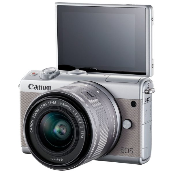 Canon EOS M100 Mirrorless Digital Camera Body Grey With EF-M15-45 IS STM Lens