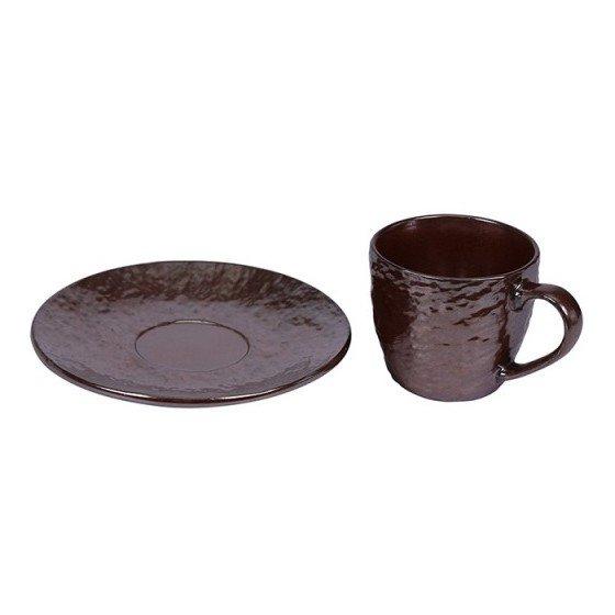 Pan Emirates Copper S/6 220CC Cup&Saucer Metallic Glaze