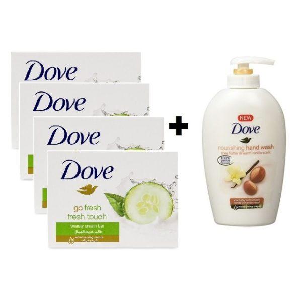 Dove Go Fresh Touch Soap 135gm 4pc + Handwash 220ml Free