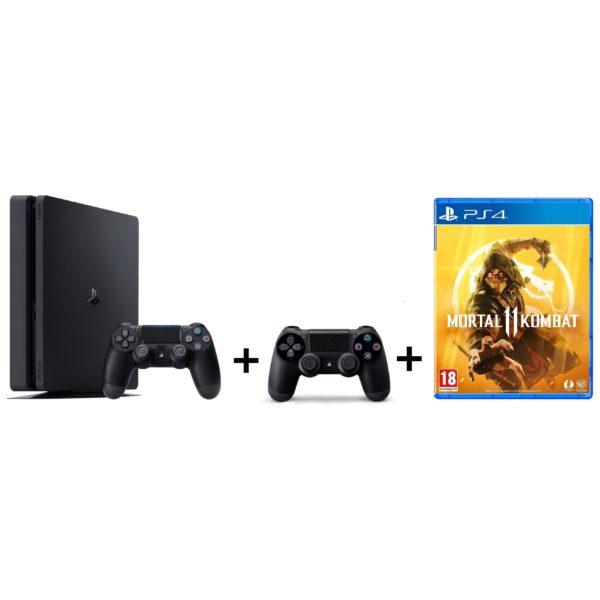Sony PS4 Slim Gaming Console 1TB Black + Dual Shock 4 Controller + Mortal Kombat II Game