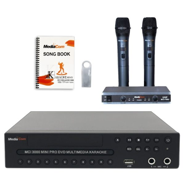 Buy MediaCom MCI Mini Pro DVD Karaoke Player + Wireless Mics – Price