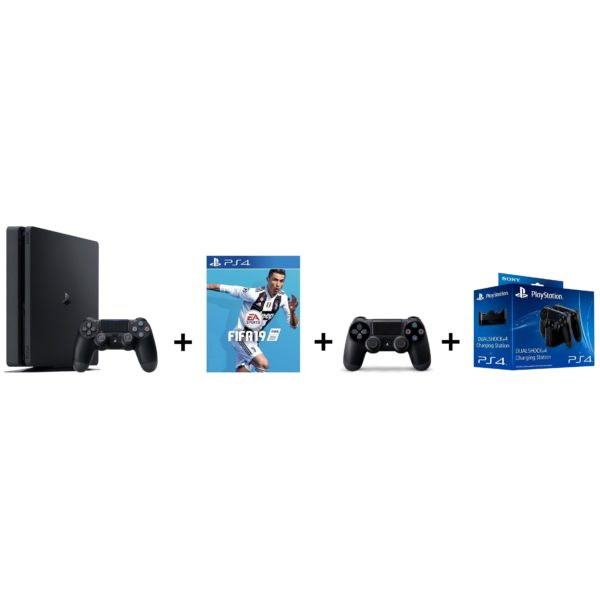 Sony PS4 Slim Gaming Console 1TB Black + FIFA 19 Game + Extra Controller + Charging Station