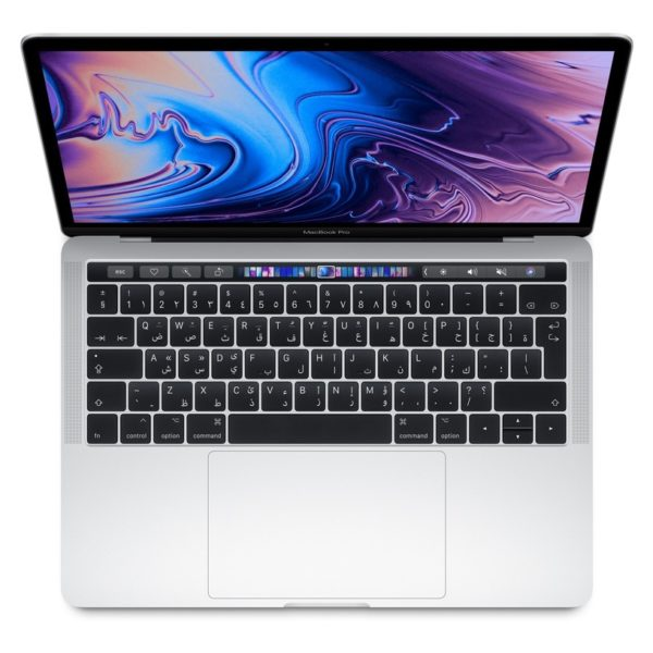 MacBook Pro 13-inch with Touch Bar and Touch ID (2019) - Core i5 2.4GHz 8GB 256GB Shared Silver English/Arabic Keyboard
