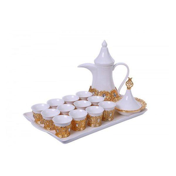 Pan Emirates Ladylyn Tea Set W/Fruit Pot Gold