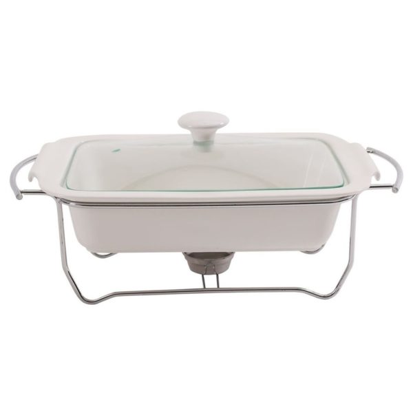 Pan Emirates Ascot Rect.Food Warmer With Lid White