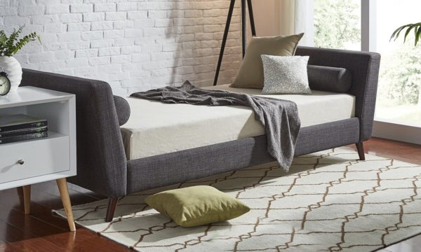 Modern Sofabed Sofabed Frame With Mattress Charcoal Grey