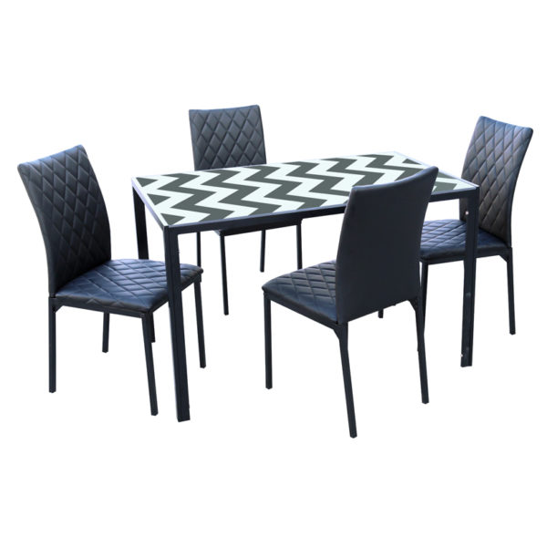 Wave 4-Seater Dining Set - Black