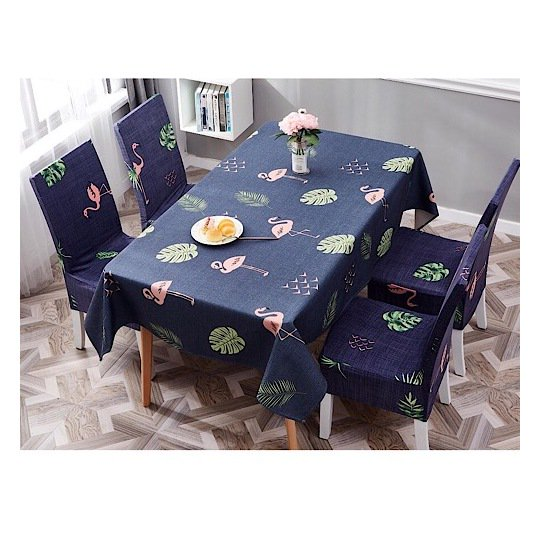 Buy Flamingo & Leaves Design Table Cloth With Dining Chair