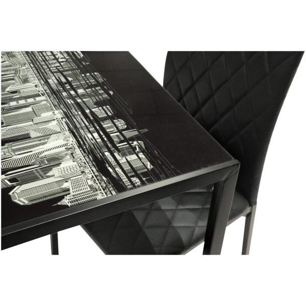 Home Style Metropolis 4-Seater Dining Set - Black