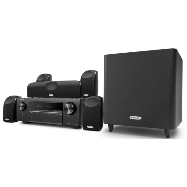 Polk Audio TL1600 with Denon AVRX250BT 5.1 Home Theater System