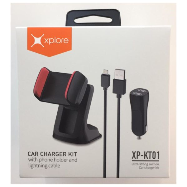 Xplore Car Charger kit With Phone Holder & Lightning Cable Black