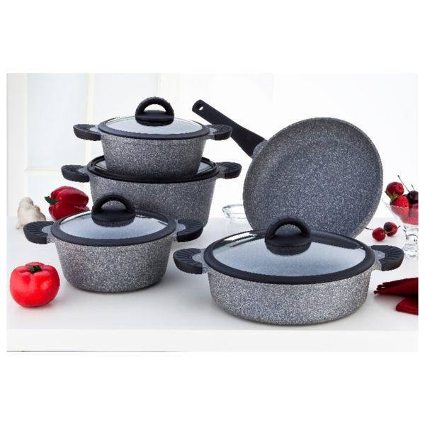 Penguen Grand 9pcs Granite Cookware Set Grey