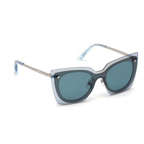 Swarovski SK0201-16V-00 Women's Sunglasses Shiny Palladium/Blue