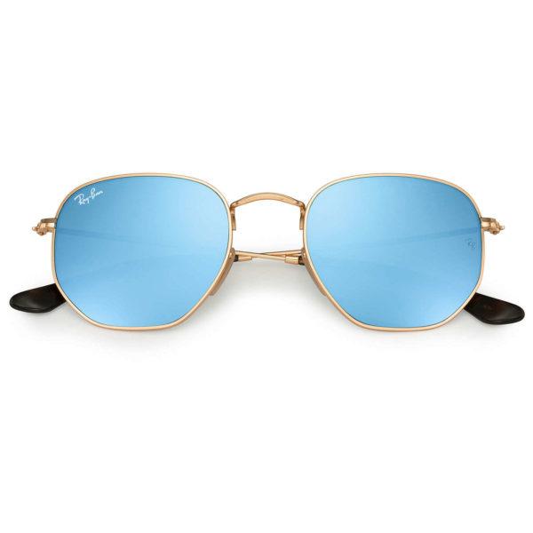 RayBan Full Rimmed Hexagon Gold Unisex Sunglasses