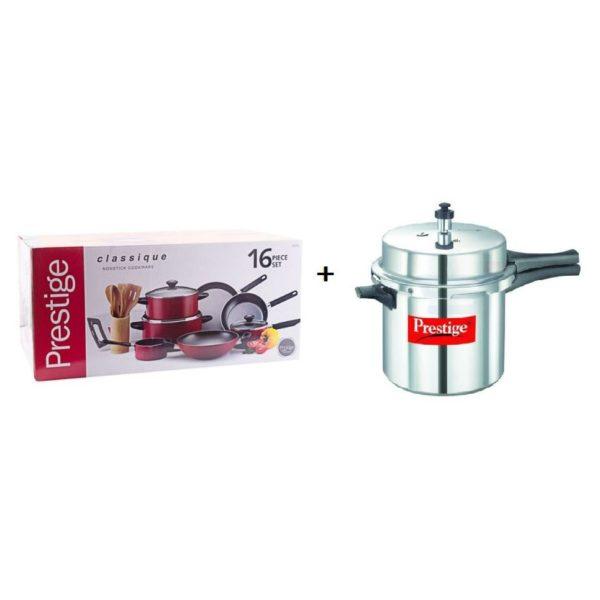 Prestige Classique 16pc Cooking Set + Pressure Cooker 4L