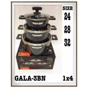 Free Zigma GALA-3BN 6pcs Granite Set 24cms Pot+28cms Pot+32cms Pot HAPROMO