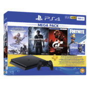 Sony PS4 Slim Gaming Console 500GB Black + Horizon Zero Dawn Complete Edition + Uncharted 4 A Thief's End + PSVR Gran Turismo Sport + Fortnite + PS Plus 3 Months Code