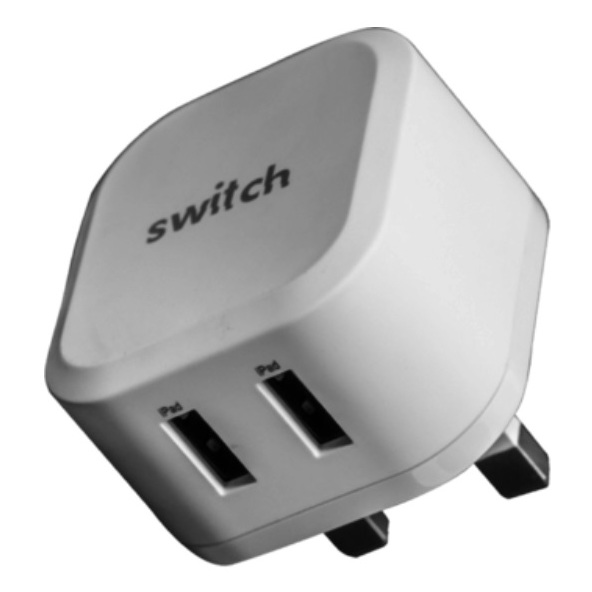 Switch Dual USB Charger With Lightning Cable 1.2m - White