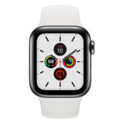 Apple Watch Series 5 GPS + Cellular 44mm Stainless Steel Case with White Sport Band