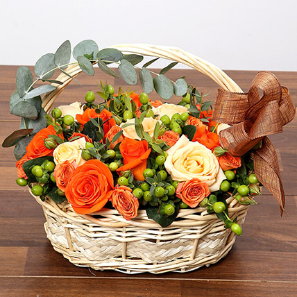 Peach & Orange Rose Basket