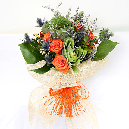 Orange Roses & Alstroemerias Mixed Bouquet