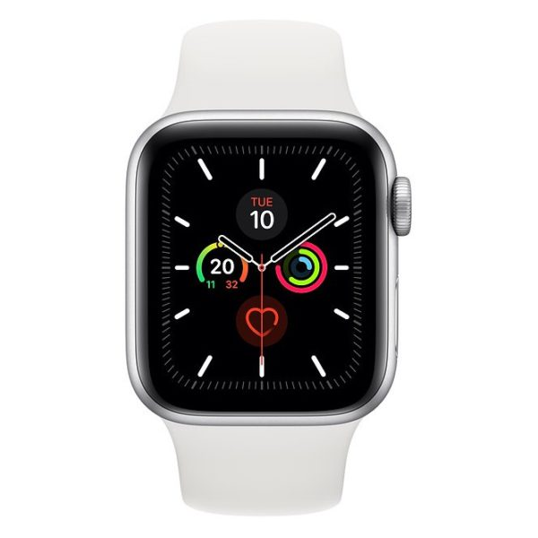 Apple Series 5 GPS + Cellular 40mm Silver Aluminium Case with White Sport Band