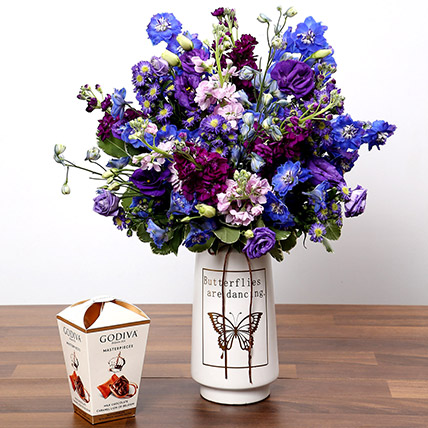 Purple & Blue Flower Arrangement With Truffles