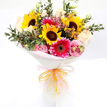Harmonic Roses & Suflower Mixed Bouquet