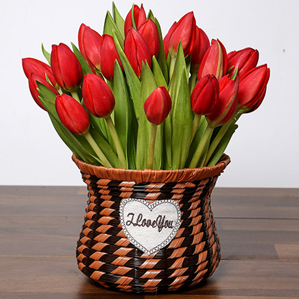 Blissful Red Tulips Basket