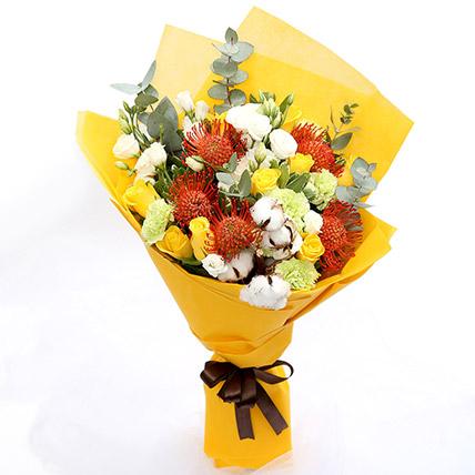Sunshine Roses & Protea Flower Bouquet