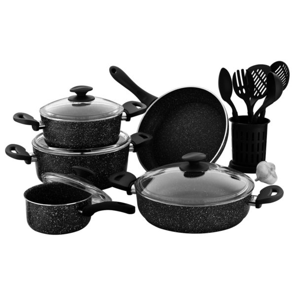 RoyalFord Granite Cookware Set Turkey Black 15pcs