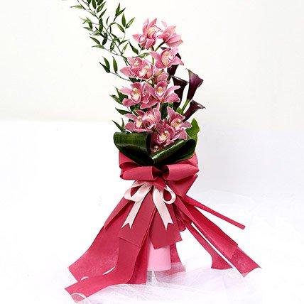 Grandeur Calla Lilies & Cymbidium Bouquet