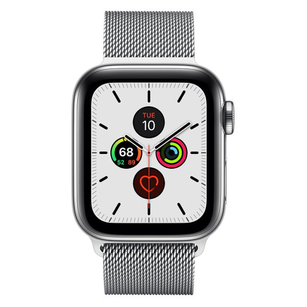 Apple Watch Series 5 GPS + Cellular 44mm Stainless Steel Case with Stainless Steel Milanese Loop