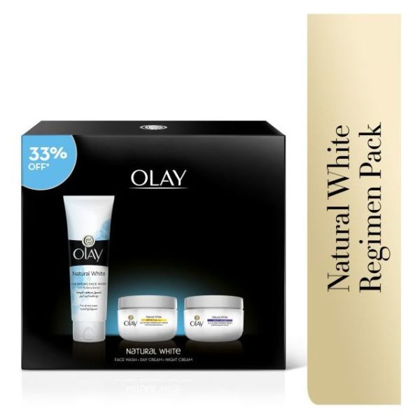 Olay Natural White Day Cream + Night Cream + Free Face Wash