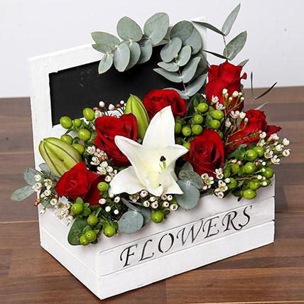 Roses & Oriental Lilies Flower Arrangement