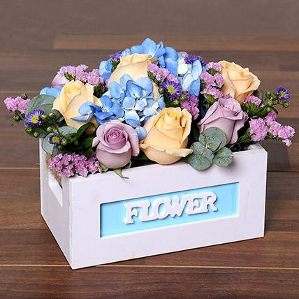 Blissful Roses & Hydrangea Arrangement in a Box