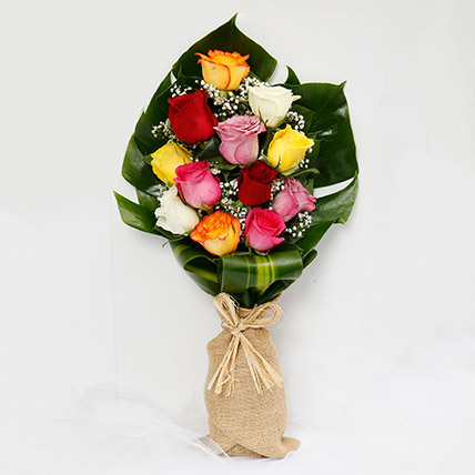 Colourful 12 Roses Bouquet