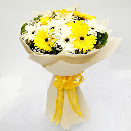 White & Yellow Gerbera Bouquet