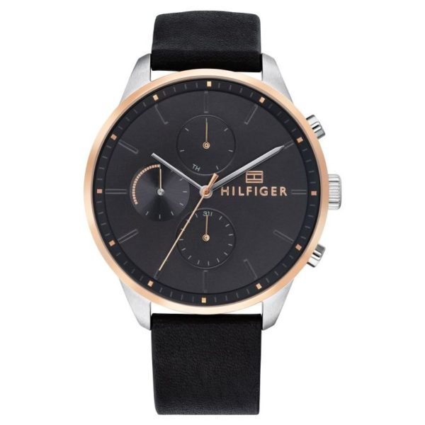Tommy Hilfiger Chase Black Leather Watch For Men 1791488
