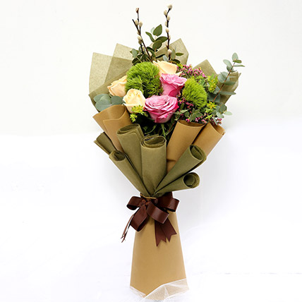 Mixed Roses & Green Trick Flower Bouquet