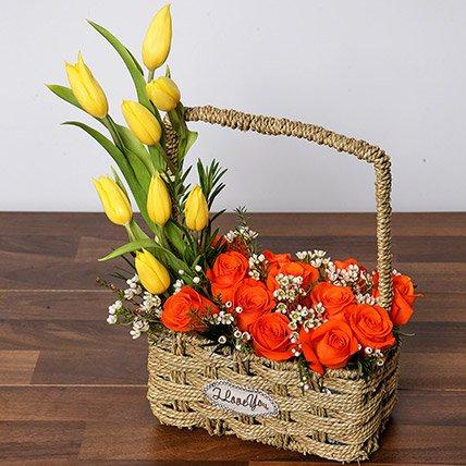 Orange Roses & Yellow Tulips Basket