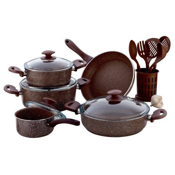 RoyalFord Granite Cookware Set Turkey Brown 15pcs