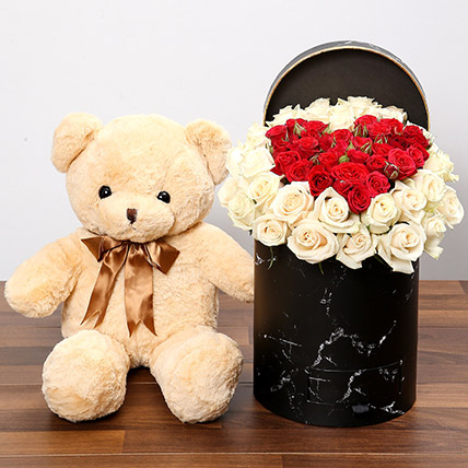 Peach & Red Rose Box With Teddy Bear