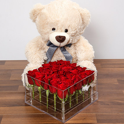Dreamy Red Rose Box With Teddy Bear