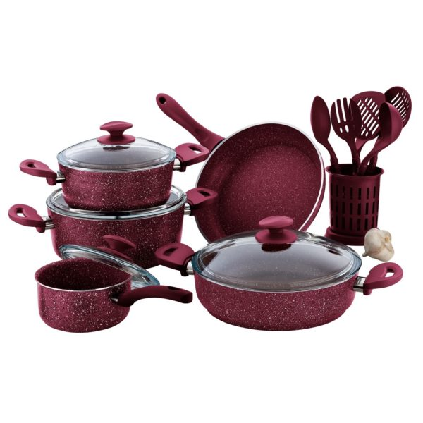 RoyalFord Granite Cookware Set Turkey Pink 15pcs