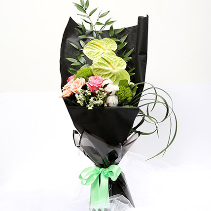 Mix Floral Bouquet With Roses & Carnations