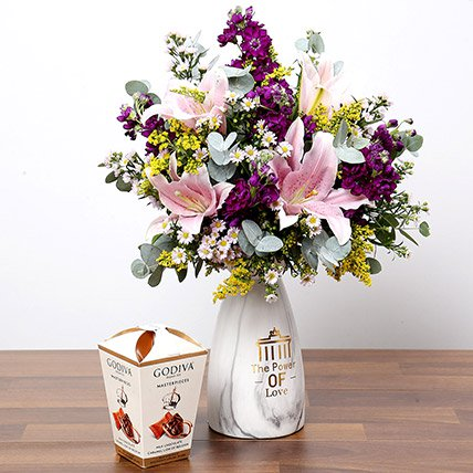Pink & Purple Flowers In Vase With Truffles