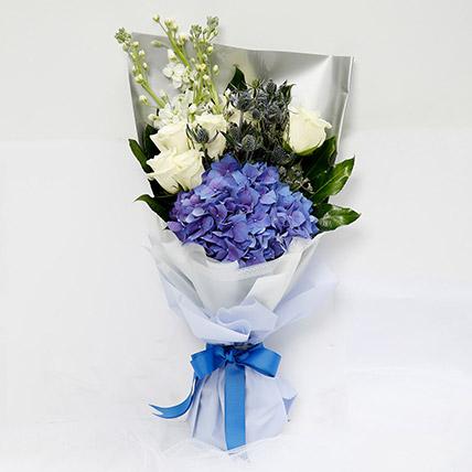 Elegant Bouquet Of Blues & Whites