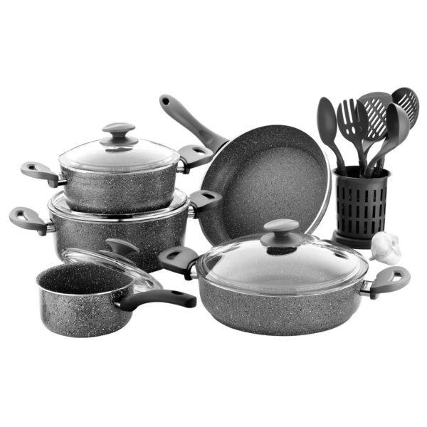 RoyalFord Granite Cookware Set Turkey Grey 15pcs