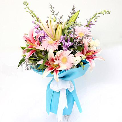 Sweet Gerberas & Lavender Flower Bouquet